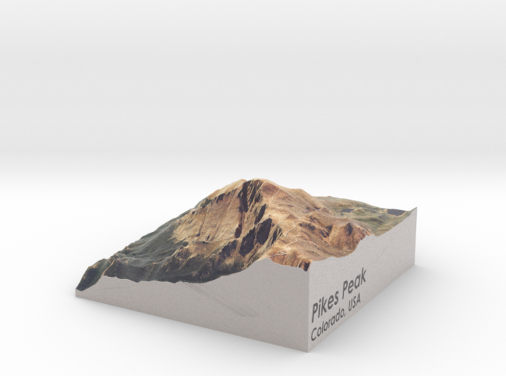 "Pikes Peak Map, Colorado: 4"" 3d printed"