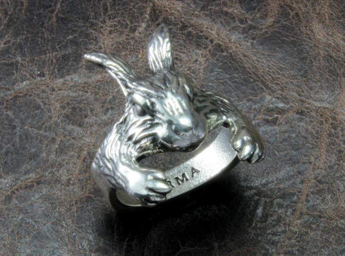 Rabbit Hug Ring 3d printed This material is Polished Silver , Patinated with bleach