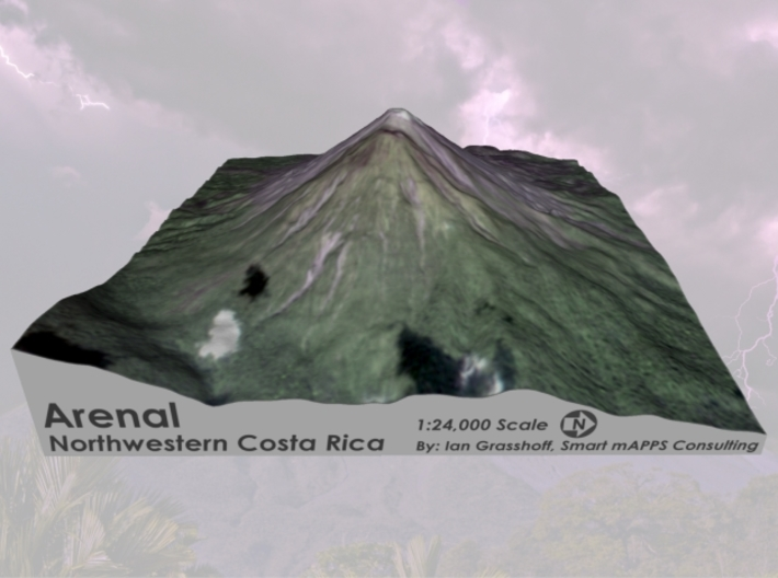 "Arenal Volcano, Costa Rica: 6"" 3d printed"