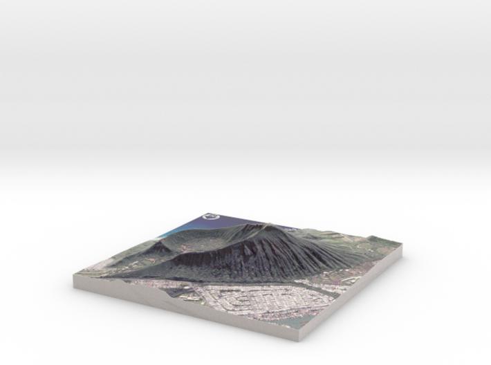 """Koko Crater Map: 6""""x6"""" 3d printed"""