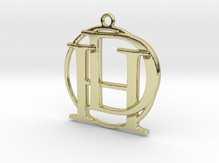 Initials D&H and circle monogram 3d printed