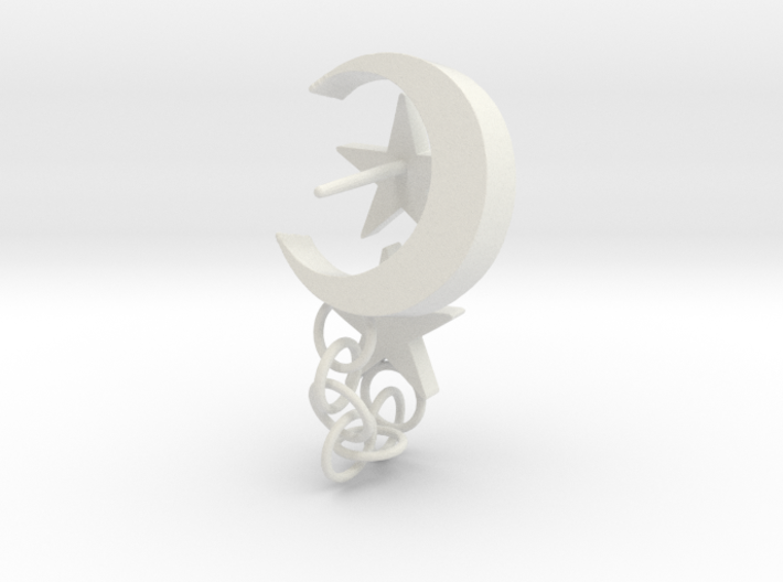 Stars and Moon Asymmetrical Earrings 3d printed