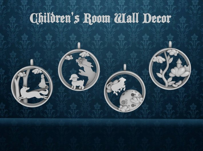 "Children's Wall Charm ""Cow Jumping Over The Moon"" 3d printed 1 of 4 pieces."