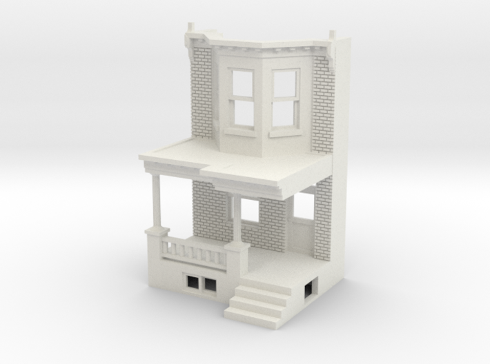 HO scale WEST PHILLY ROW HOME FRONT MIR 3d printed
