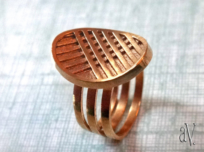 Three Stripe Ring 3d printed Three Bands with Gently Curved Stripes