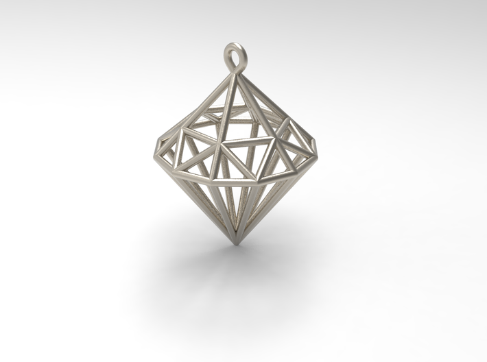 Wireframe Diamond Pendant 3d printed Colour may vary