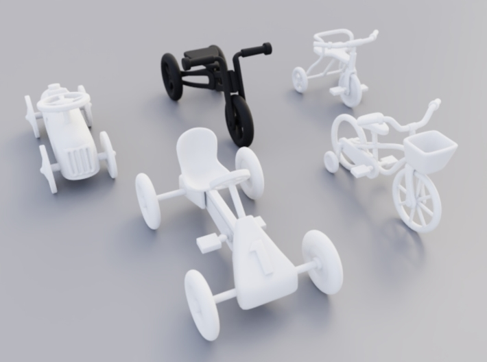 Kids bicycle with training wheels 3d printed Multiple vehicles available!