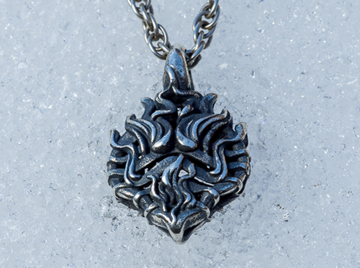 Heart on Fire Pendant. 3d printed Photo of Heart on Fire In  Silver Antique