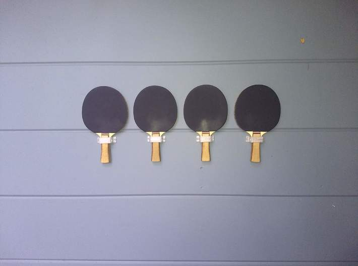 Ping Pong Paddle Holder 3d printed On my wall