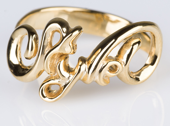 Style Ring. 3d printed Photo of Style Ring in 18k Gold Plated Brass