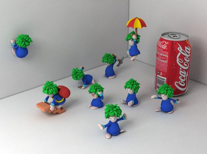 Lemming Floater (Large and in Color) 3d printed All lemmings together