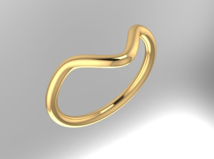 Wave Midi Ring 3d printed rendering from side