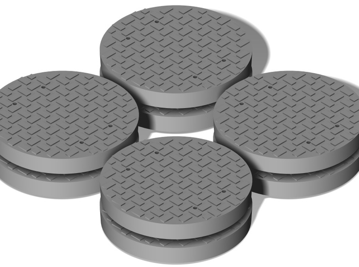 Heavy Manhole Cover Set 1/32 scale 3d printed