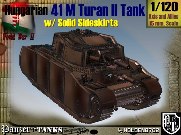 1/120 Hungarian 41M Turan II Solid Sideskirts 3d printed