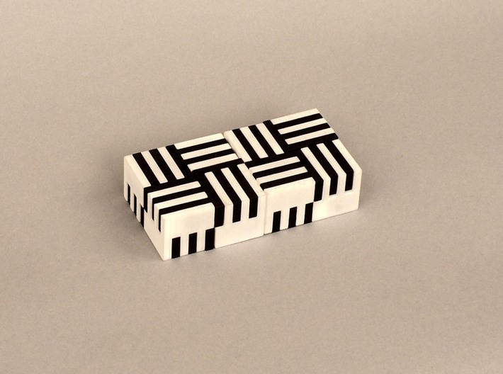Puzzle Cube, Positive, (white) pieces 3d printed reassembled as two blocks