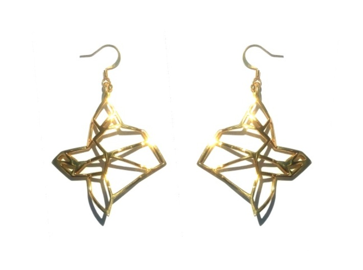 FabGeo Earrings 3d printed Gold Plated Brass