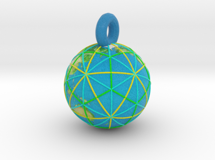 Earth Grid Color - 32mm diameter 3d printed