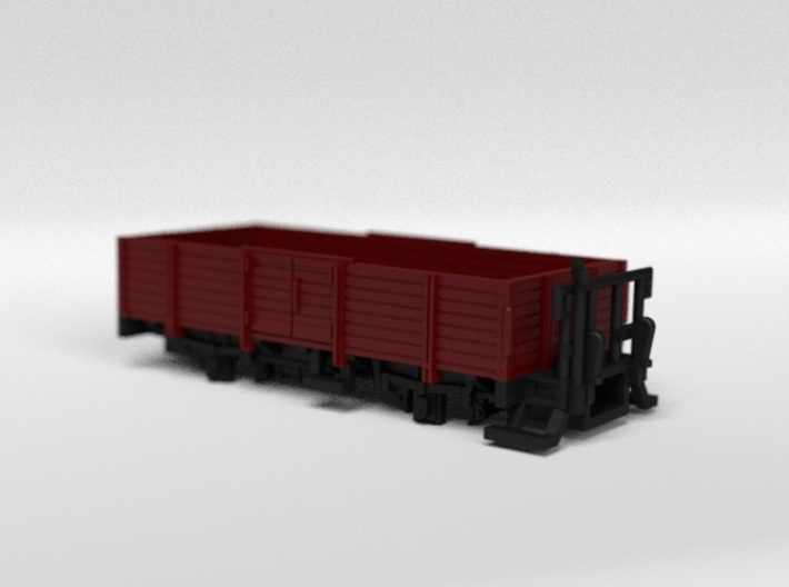 RhB L6006 Open Freight Wagon 3d printed Rendering of the colored and assembled model kit