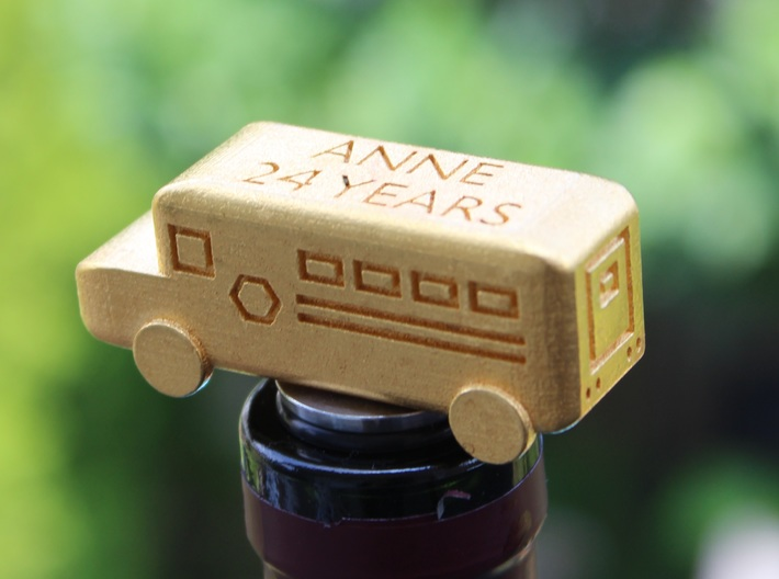 School Bus Wine Topper 3d printed School Bus Wine Stopper in Action (in Gold Polished Steel)