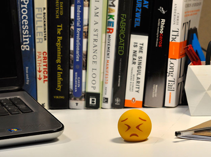 3D Emoji Frowning with Eyes Shut Tight 3d printed