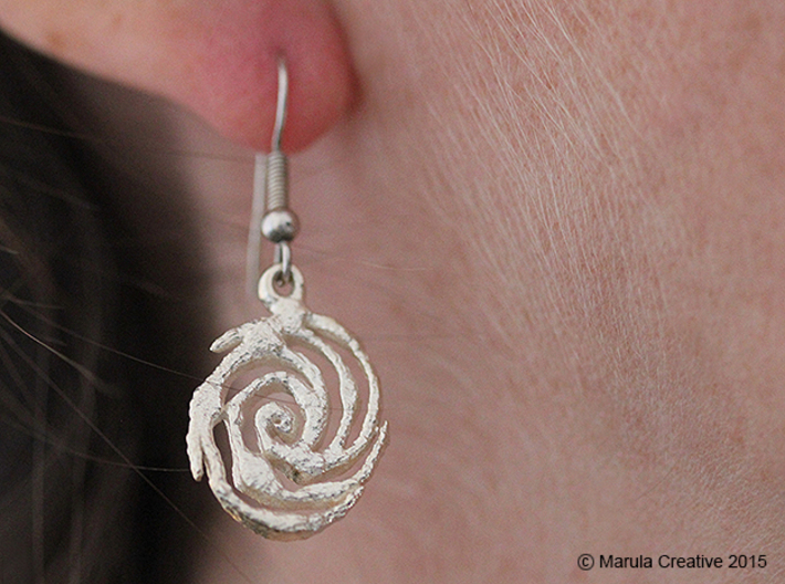 Galaxy Earring 3d printed Raw Silver Earring (hooks not sold with product)