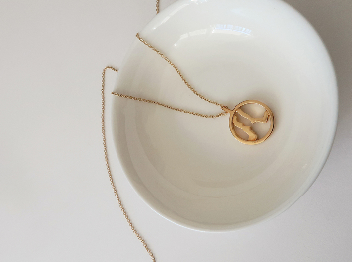 You and Me Necklace  3d printed 14k plated Gold