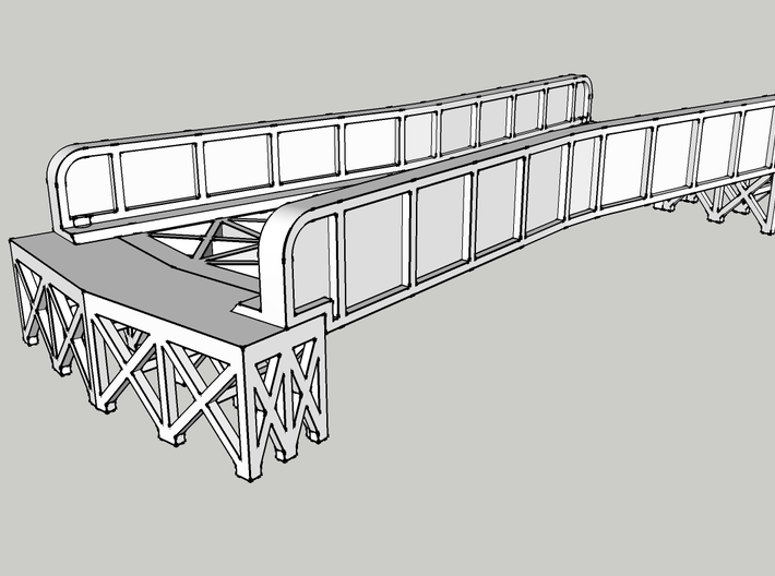 "CROSSING 13° SINGLE TRACK VIADUCT 3d printed with 1/2"" tall joiners"