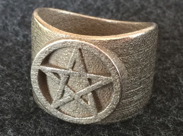 Pentacle Ring - thick 3d printed Thick pentacle ring in  steel.