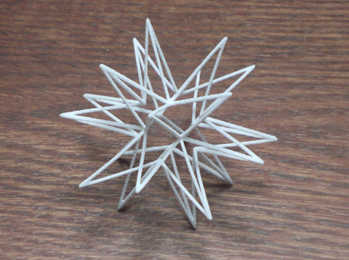 Icosahedron Star 3d printed icosa star (20 points) in white straong and flexible plastic