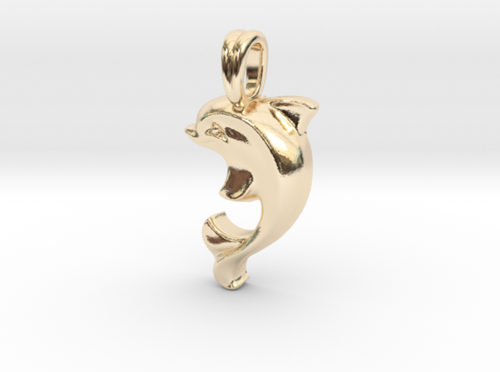 14k Gold Dolphin Necklace 3d printed