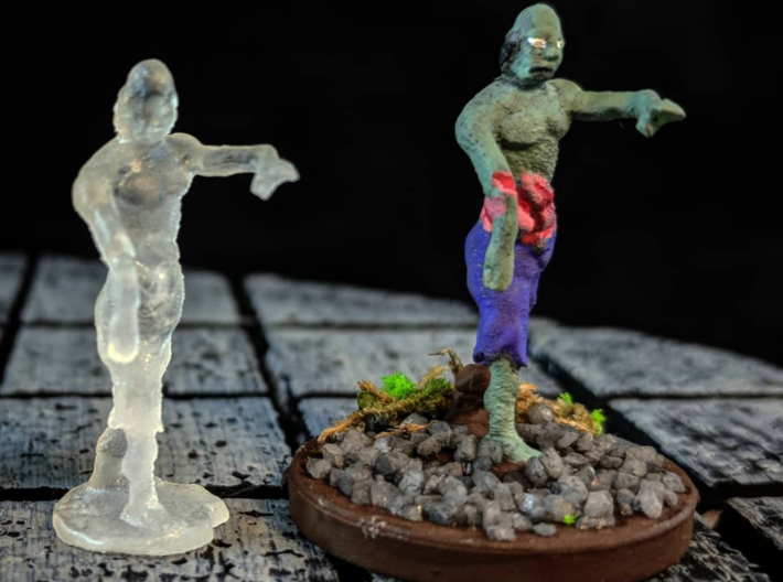Zombie 3d printed An example of how this model could look painted and mounted to a standard base.