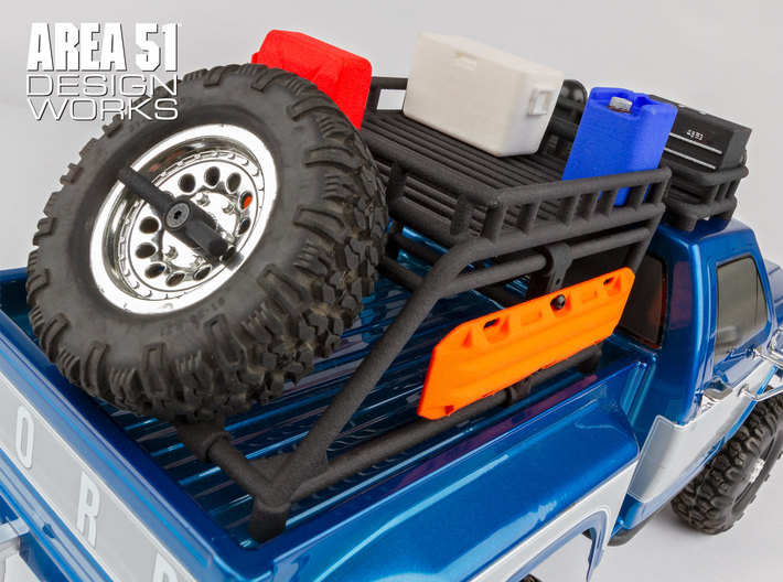12th Scale Overland Bed Rack 3d printed Shown with optional accessories on CR12 F150 body