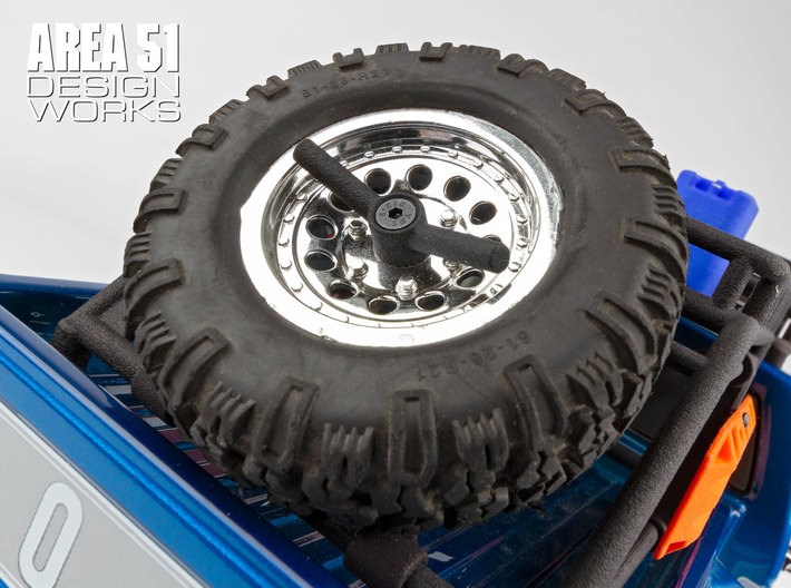 12th Scale Overland Rack Spare Tire Mount  3d printed Showen assembled onto CR12 F150 with Overland Bed Rack