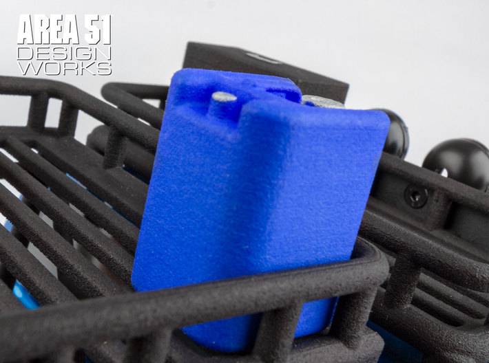 12th Scale Water Container 3d printed Shown in blue installed onto Overland Roof Rack