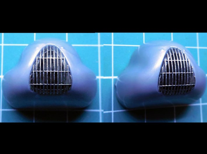 1/32 Auto Union Type D front grill 3d printed grill painted with flat black and Molotow Chrome marker