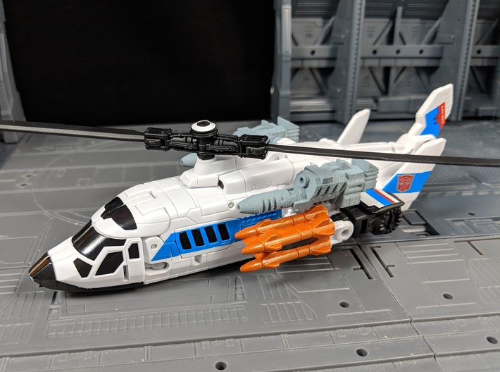 TF Combiner Wars Blades Helicopter Cannons 3d printed Painted gray and equipped on Alpha Bravo