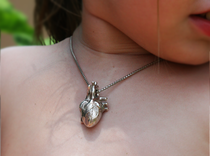 Anatomical Heart Pendant 3d printed Polished Silver