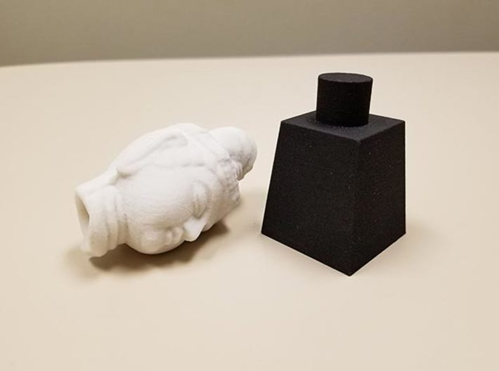 Buddha Head Plinth (Fits Head Type 1 & 2) 3d printed Actual printed example in Black Natural Versatile Plastic (with Type 1 Buddha Head in Sandstone)