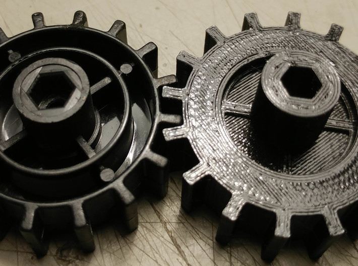WPL Fitted Track Sprocket 3d printed Left=stock... Right = fitted
