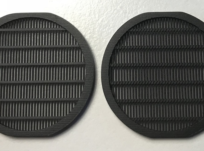 Perfect Grade Falcon 1:72 grilles, No Koolshade 3d printed Left: not Koolshade (this version). Right: simulated Koolshade. Note: this was an earlier print with just slightly tighter bar spacing