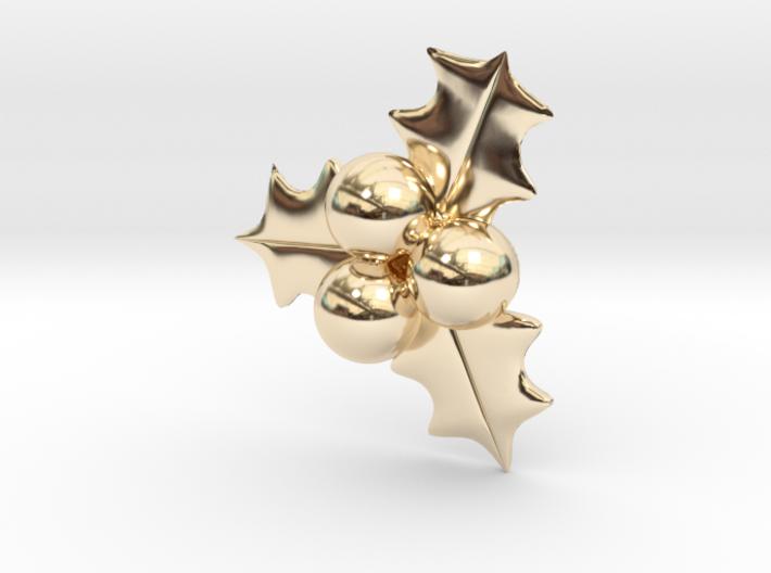 Hollyberry Christmas Pendant 3d printed
