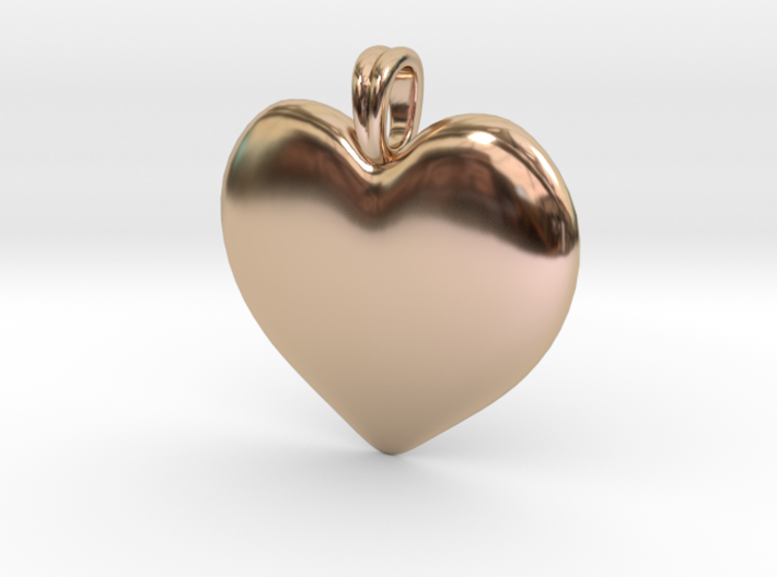 14K Gold Heart Necklace 3d printed
