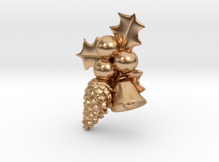 Hollyberry, Pine Cone and Bell Christmas Pendant 3d printed