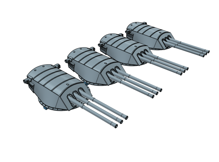 1/700 USS Arizona BB-39 Turrets with fixed barrels 3d printed