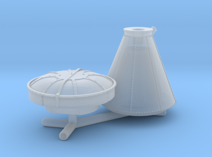 N Scale Locomotive 'Bonnet' Stack (Single) 3d printed Your new stack comes in two parts, with space for weight if needed. Parts may be gently twisted to remove from spruce.