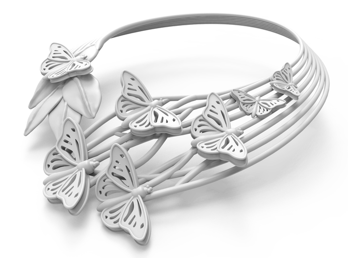 Butterflies in Love_Necklace 3d printed