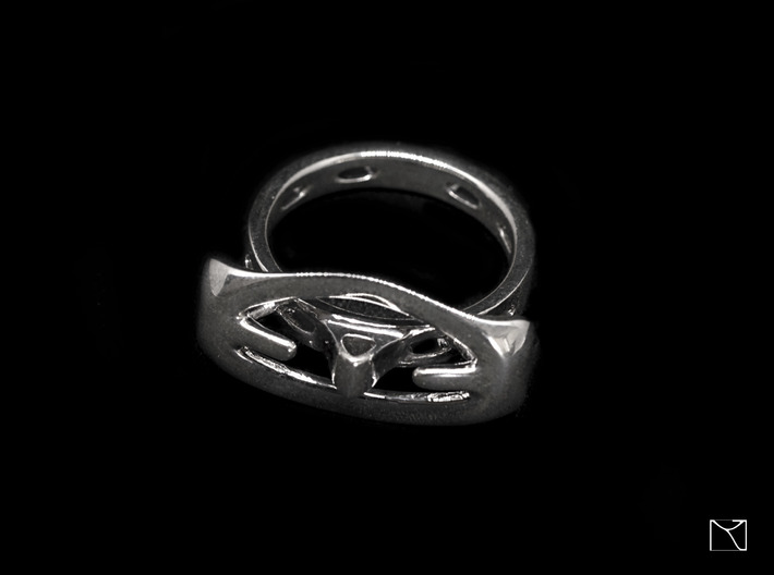 Abstract curved Ring 3d printed Polished Silver