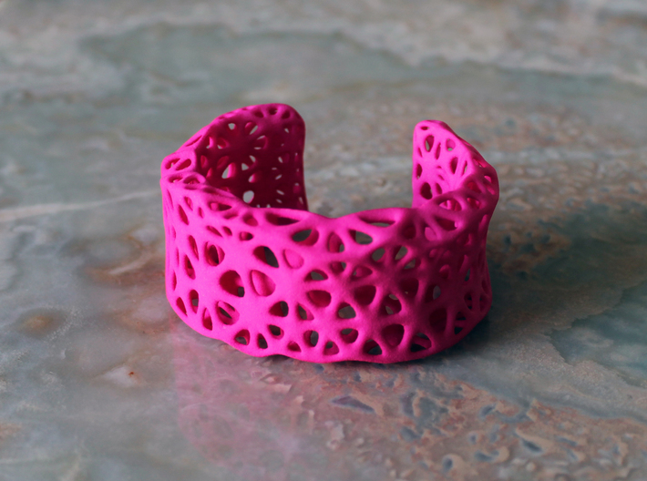 Flowers Cuff (Size L) 3d printed Printed in Pink Strong & Flexible Plastic