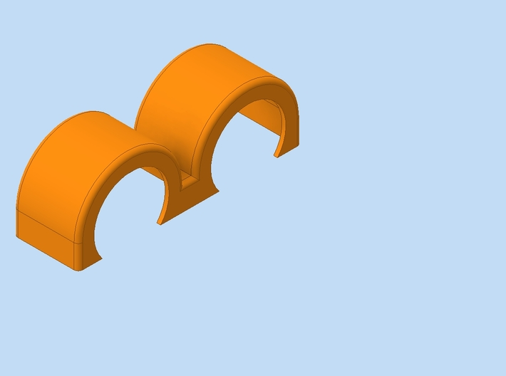 Italeria DoubleSwept 3d printed Cad rendering of the fender in orange color