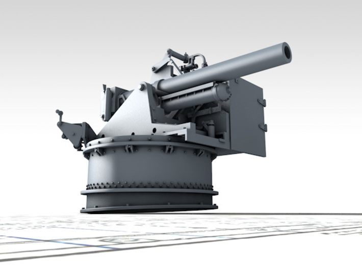 """1/35 4.5""""/19 (11.4 cm) 8cwt QF MKI Aft (MTB) 3d printed 3D render showing product detail"""